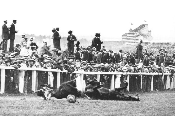 Emily Davison throws herself in front of the King's Horse at Epsom on 4 June 1913
