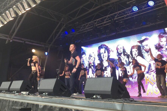 The cast of Rock of Ages performs at West End Live 2013