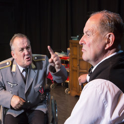 Michael Forrest as Hitler and Jeremy Dobbs as Churchill