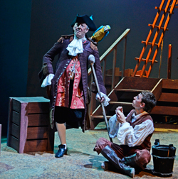 James Earl Adair as Long John Silver & Dylan Kennedy as Jim