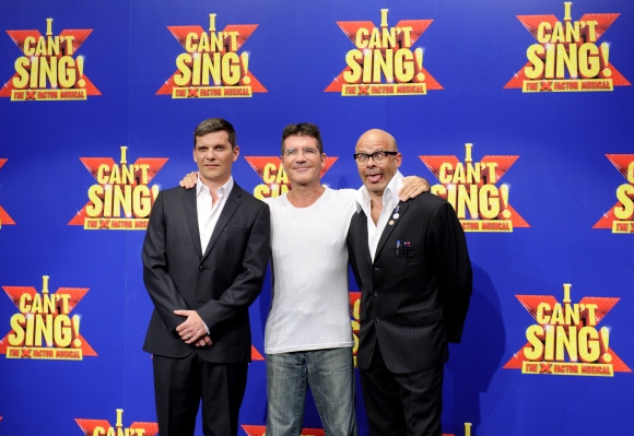 Nigel Harman, Simon Cowell and Harry Hill at the launch of <i>I Can't Sing!</i>