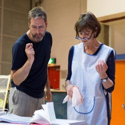 Nick Winston in rehearsal with Gillian Bevan (Mrs. Lovett).