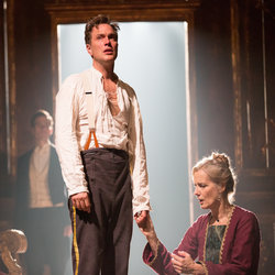 Daniel Lapaine as Leontes and Barbara Marten as Paulina in The Winter's Tale.