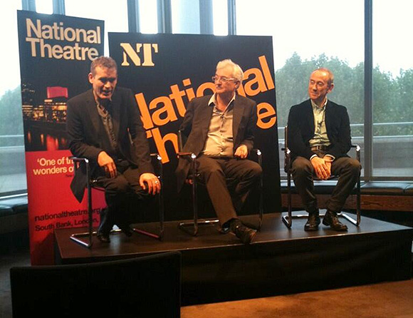 Rufus Norris, John Makinson and Nicholas Hytner at the press conference this morning