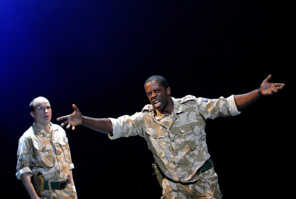 Rory Kinnear and Adrian Lester perform a scene from Othello at the NT 50 gala